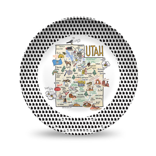 Utah Map Black & White Plate