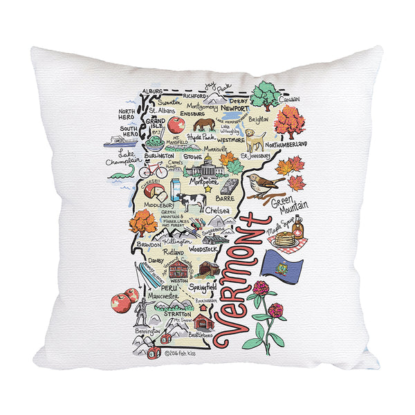 Vermont Map Pillow