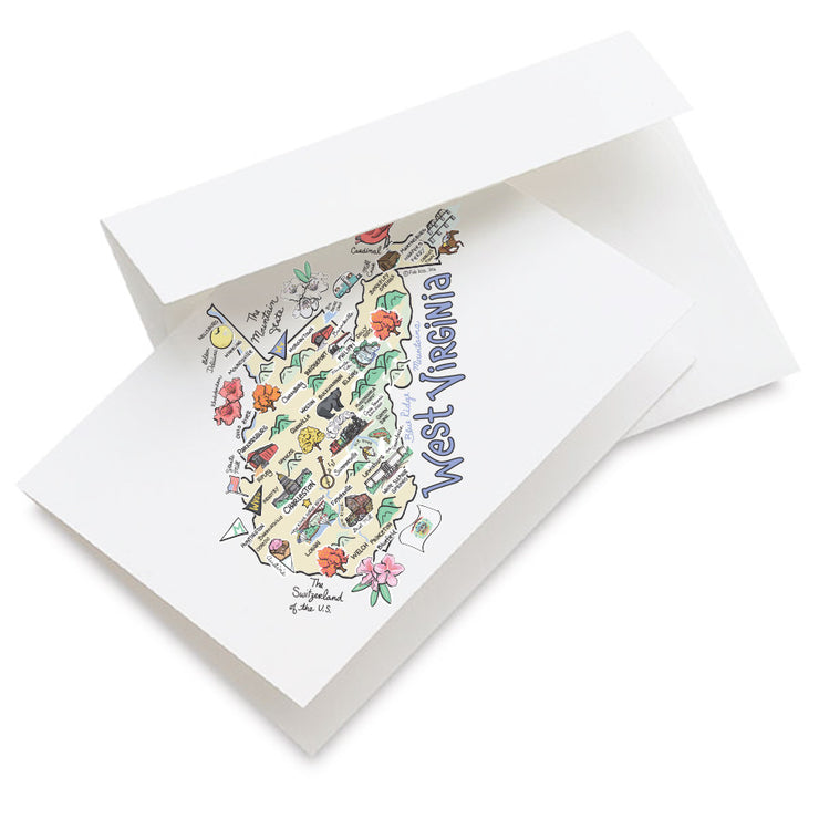 West Virginia Map Greeting Card
