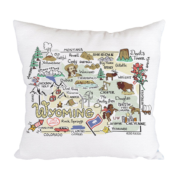Wyoming Map Pillow