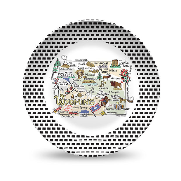 Wyoming Map Black & White Plate