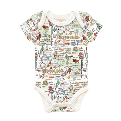 Wyoming Map Baby One-Piece - PIMA