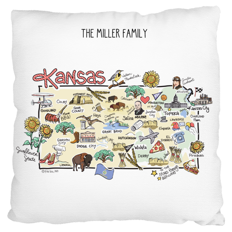 Custom Kansas Map Pillow