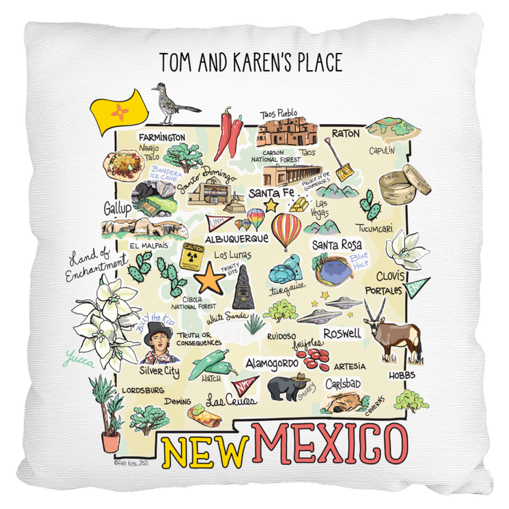 Custom New Mexico Map Pillow