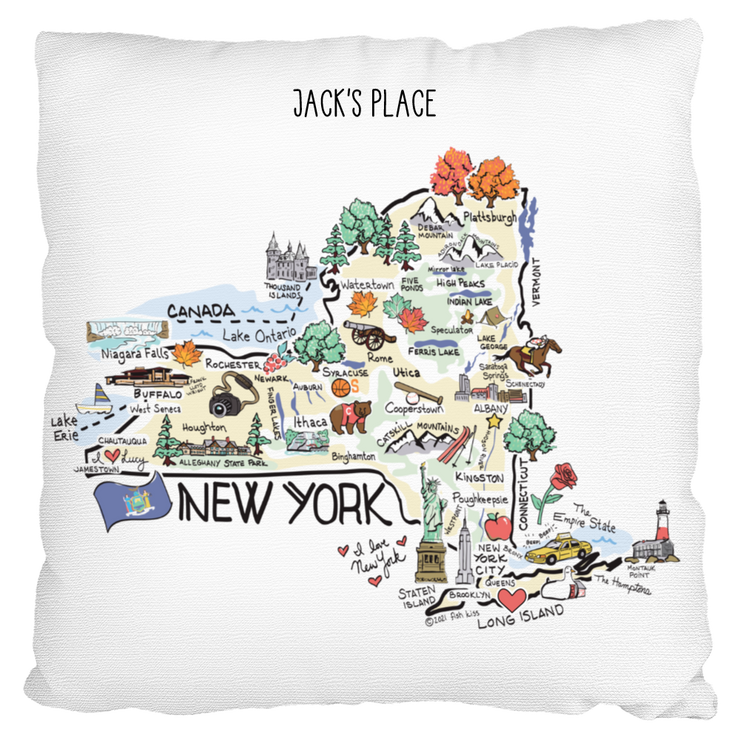 Custom New York Map Pillow
