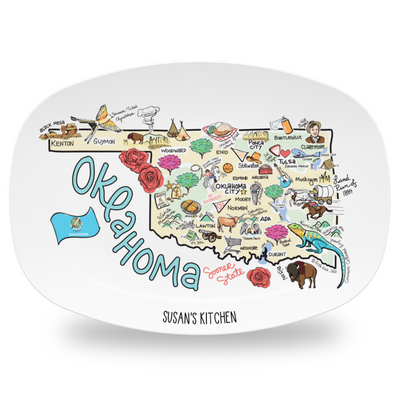 Custom Oklahoma Map Platter