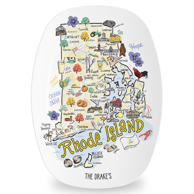 Custom Rhode Island Map Platter