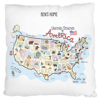 Custom America Map Pillow