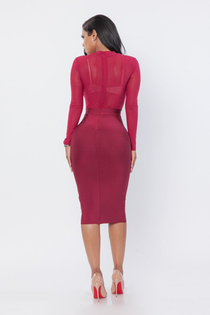 Wine Mesh Bandage Dress - Showroom Glam  - 2