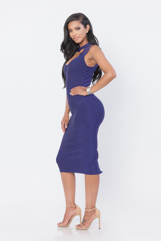 Navy Flirt Bandage Dress - Showroom Glam  - 2
