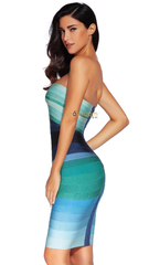 Ombre Bandage Dress Blue - Showroom Glam  - 2