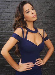 Navy Flirt Bandage Dress - Showroom Glam  - 3