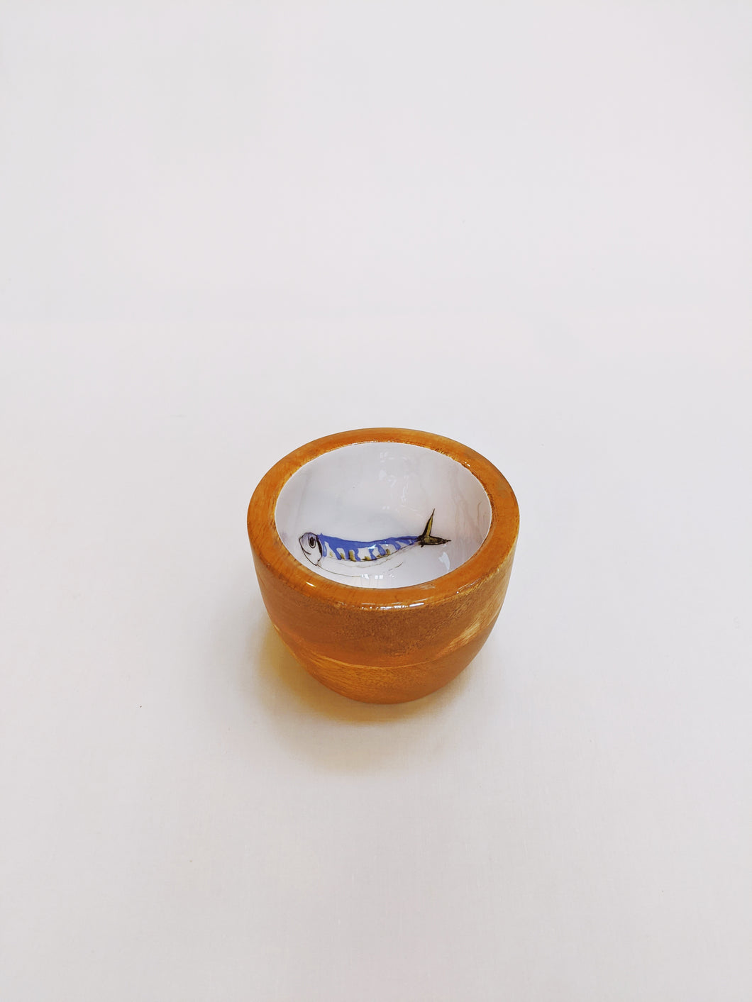 Small Wooden Bowl, Fish Design