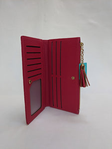 Pom, Large Pink Wallet Purse with Tassel