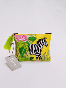 Pom, Hand Embroidered Zebra Purse