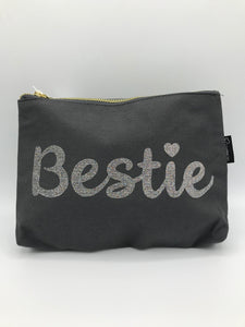 Bestie grey makeup bag
