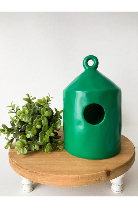 Blank Ceramic Green Birdhouse