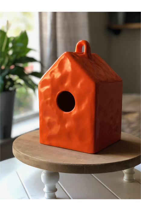 Dark Orange Ceramic Birdhouse