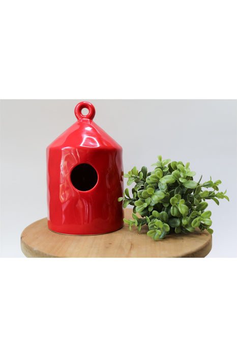 Red Round Ceramic Birdhouse
