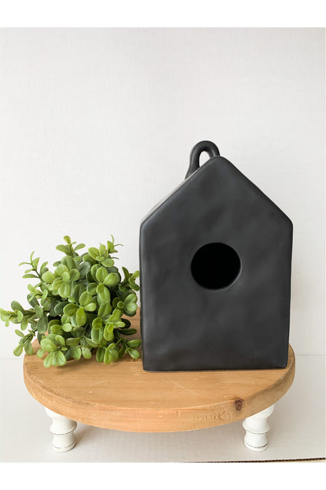 Blank Black Matte Ceramic Birdhouse