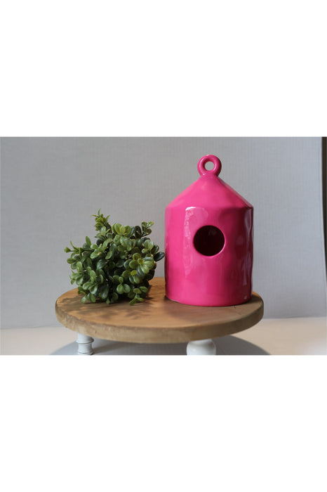 Hot Pink Ceramic Birdhouse
