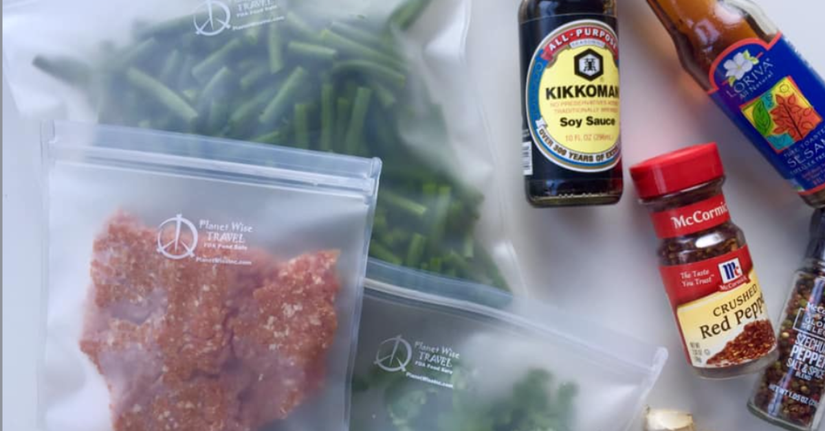 ground beef and green beans in freezer safe bags