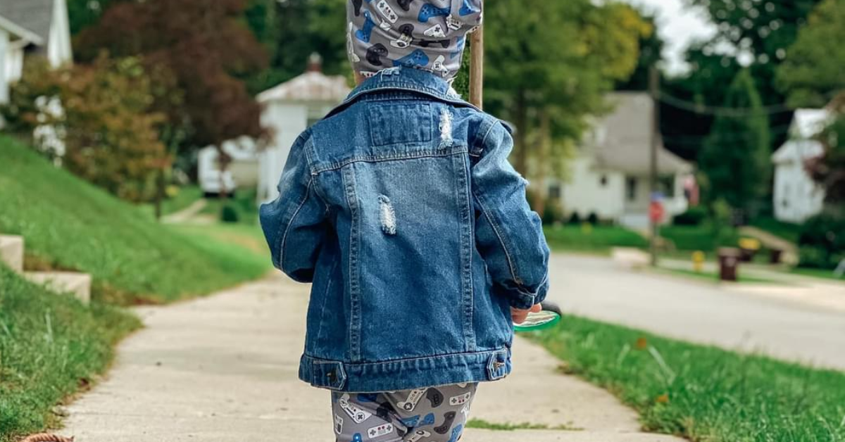 Child in Jean jacket with beanie
