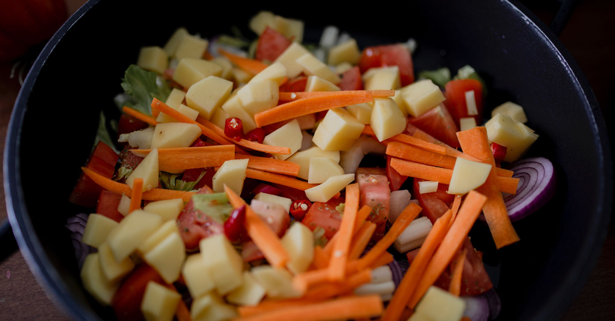 Chopped vegetables in bowl