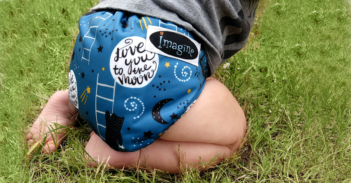 Imagine One Size Hook and Loop All in Two Cloth Diaper - To the Moon