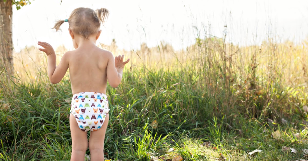 child wearing One size all in one cloth diaper