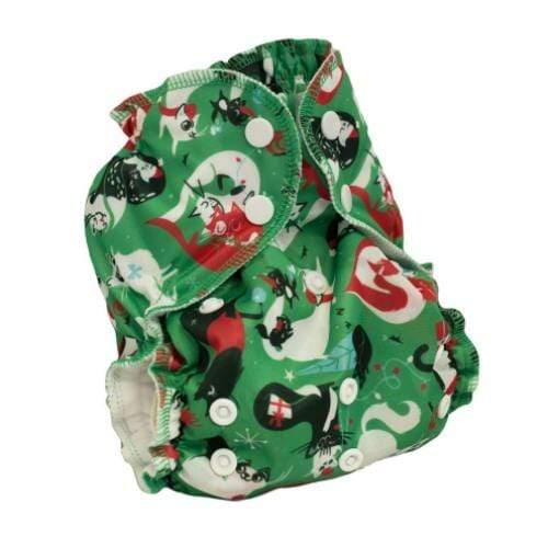 AppleCheeks One Size Envelope Diaper Cover - Santa Paws