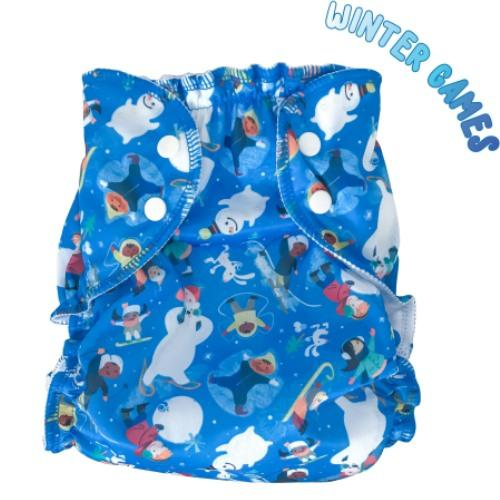 AppleCheeks One Size Envelope Diaper Cover - Winter Games