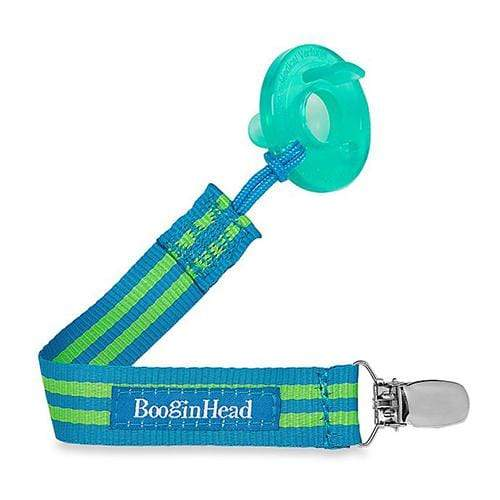 BooginHead PaciGrip Pacifier Holder - Blue/Green Stripe