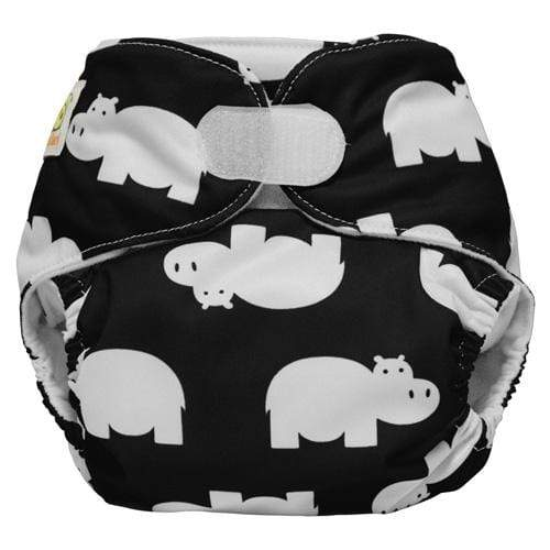Diaper Safari One Size Hook and Loop Pocket Diaper - Black Hippo