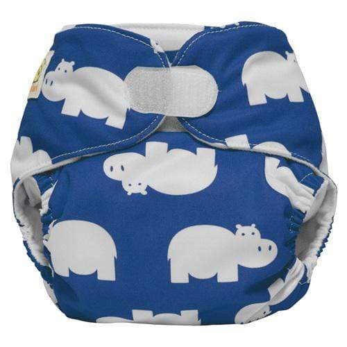 Diaper Safari One Size Hook and Loop Pocket Diaper - Blue Hippo