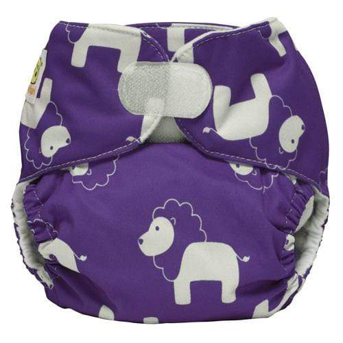 Diaper Safari One Size Hook and Loop Pocket Diaper - Purple Lion