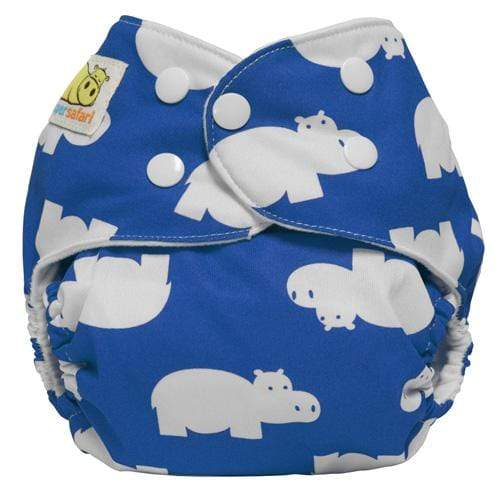 Diaper Safari One Size Snap Pocket Diaper - Blue Hippo
