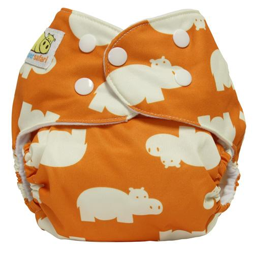 Diaper Safari One Size Snap Pocket Diaper - Orange Hippo