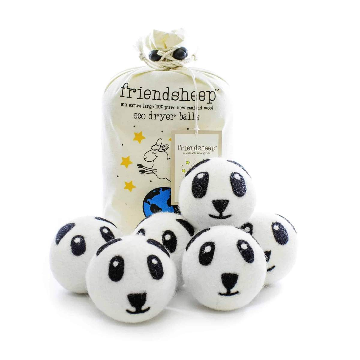 Friendsheep Eco Dryer Balls Pack of 6 - Panda Pack