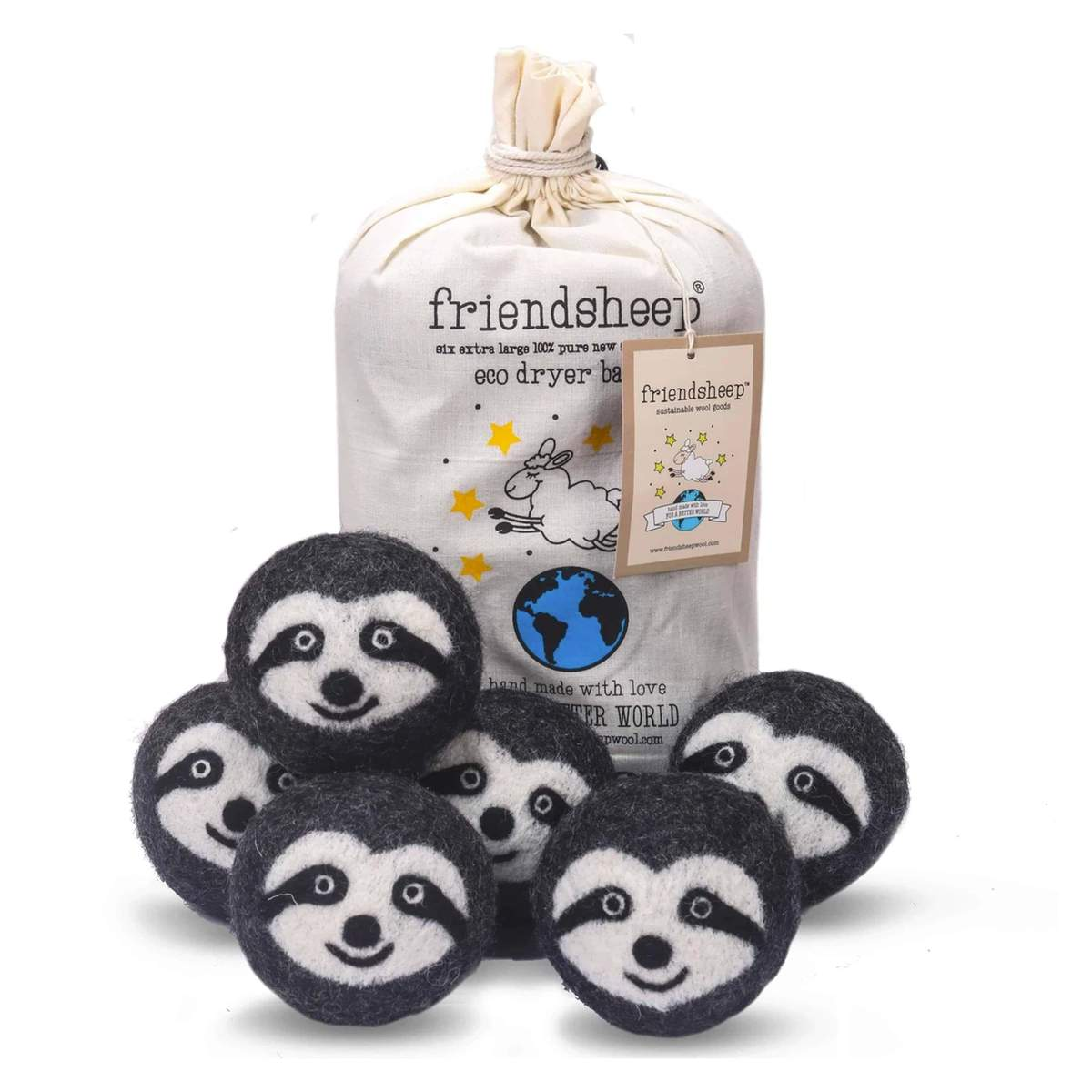 Friendsheep Eco Dryer Balls Pack of 6 - Sloth Squad