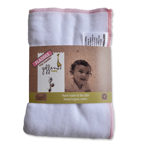 Geffen Baby Hemp Fleece Fladdle (Flat/Swaddle) - Pink Trim