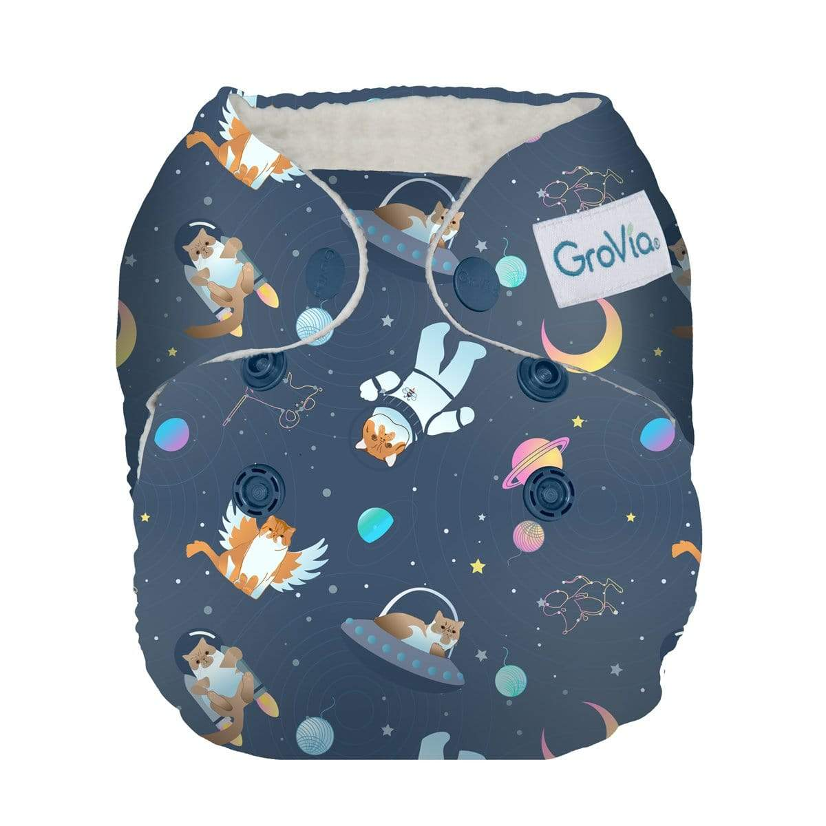 GroVia Newborn All in One Diaper - All Good Cats Go To Space