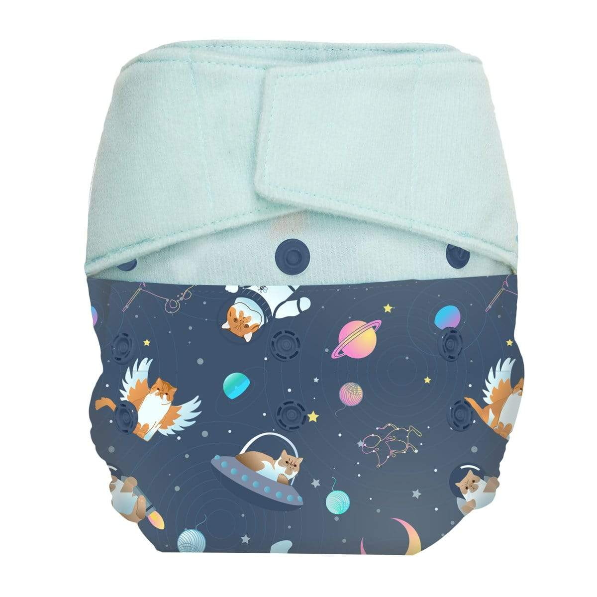 GroVia One Size Hook and Loop Diaper Shell - All Good Cats Go To Space