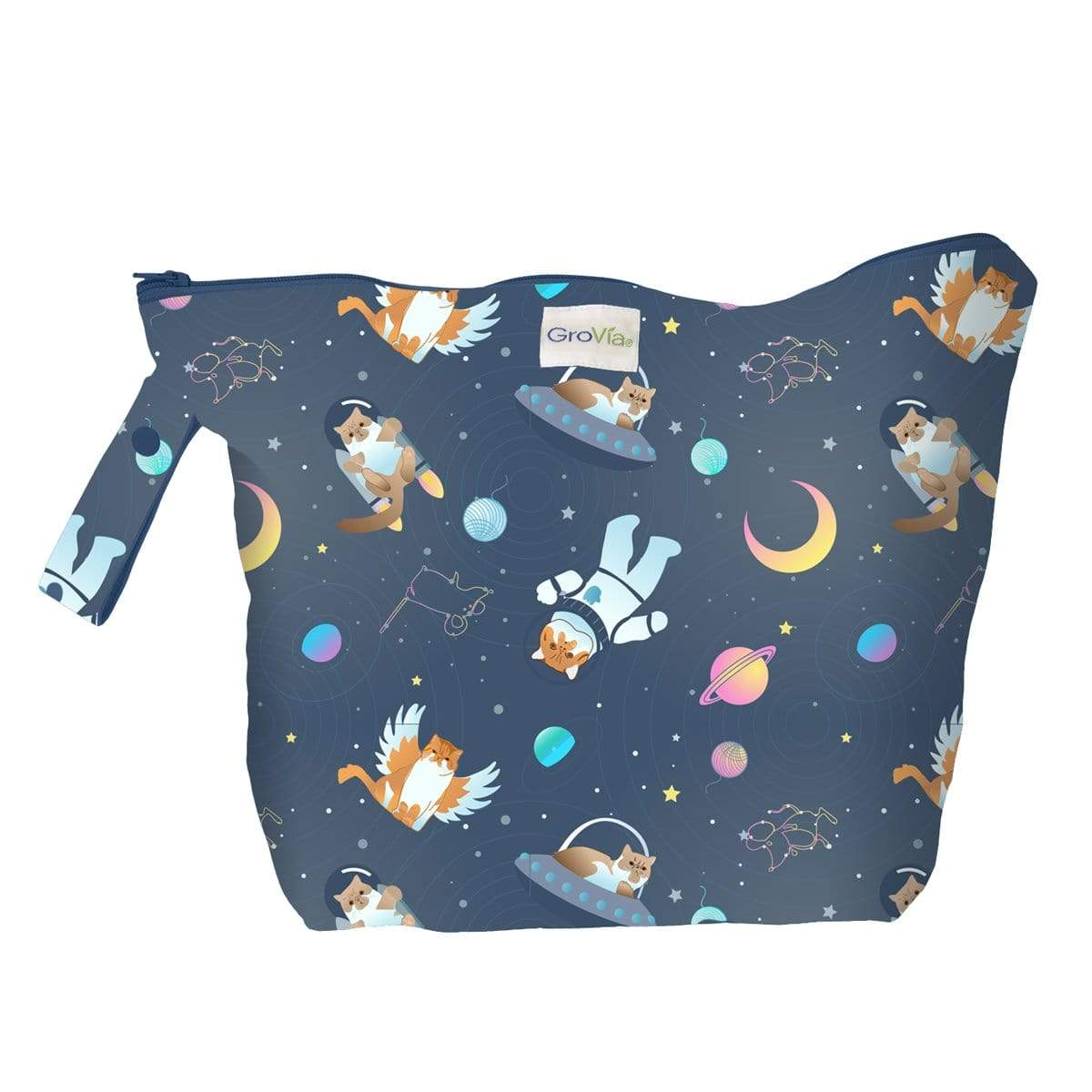 GroVia Zippered Wet Bag - All Good Cats Go To Space