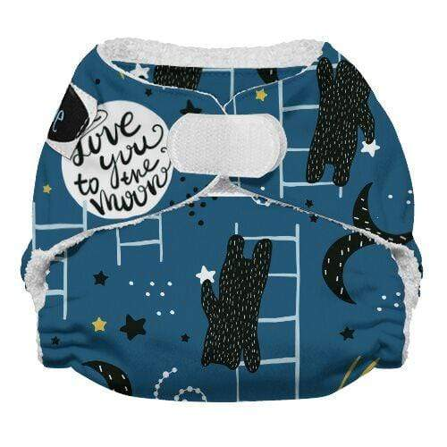 Imagine Newborn Hook and Loop Bamboo All in One Diaper - To the Moon Newborn