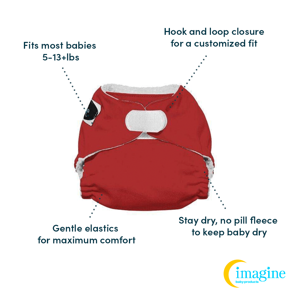 Imagine Newborn Hook and Loop Stay Dry All in One Diaper - Raspberry