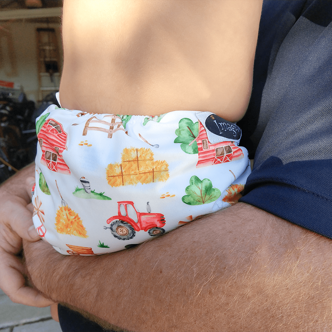 Imagine Newborn Snap Bamboo All in One Diaper - Little Farmer