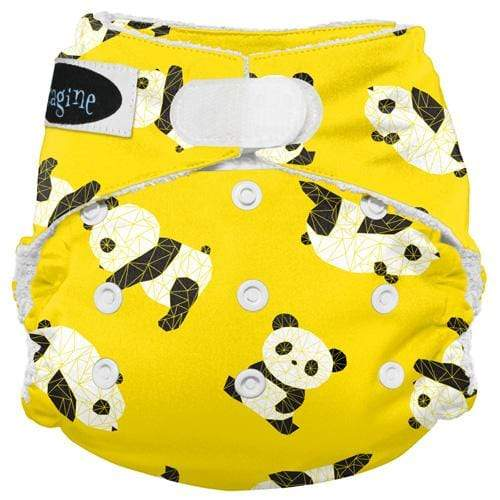 Imagine One Size Hook and Loop Bamboo All in One Diaper - Panda Fold