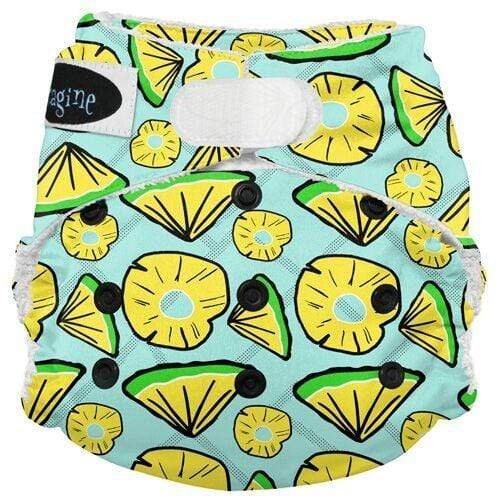 Imagine One Size Hook and Loop Bamboo All in One Diaper - Pineapple Pop