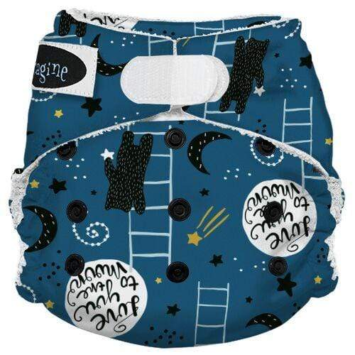 Imagine One Size Hook and Loop Bamboo All in One Diaper - To the Moon